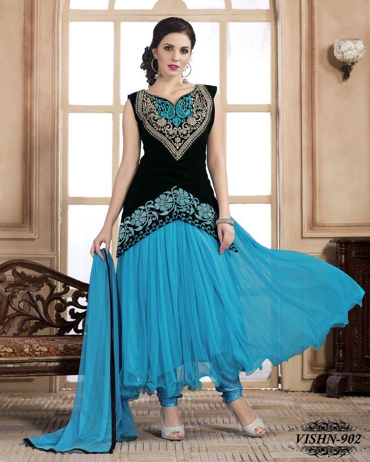 Shonaya Anarkali Sky Blue Designer Embroidered Net Semi Stiched Salwar Suit -