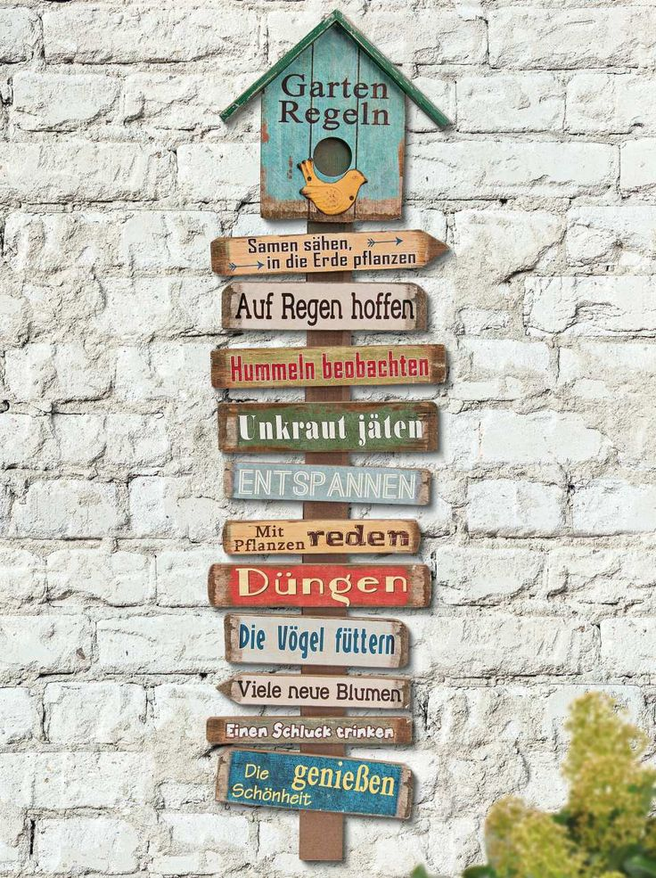 With rules for the gardener • Narrow format • Color-painted wood • Vi …   – Garten – Dekoration