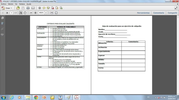Criterios para evaluar el trazo de letras