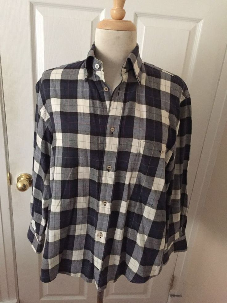 Paul & Shark Yachting Blue White Plaid Made in Italy Long Sleeve Shirt Size S #PaulandSharkYachting #ButtonFront