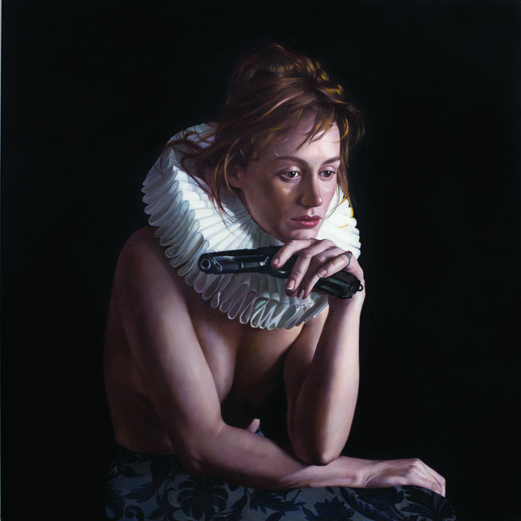 renaissance girl ironic golden age millstone collar art painting oil on canvas Frank E Hollywood vanitas