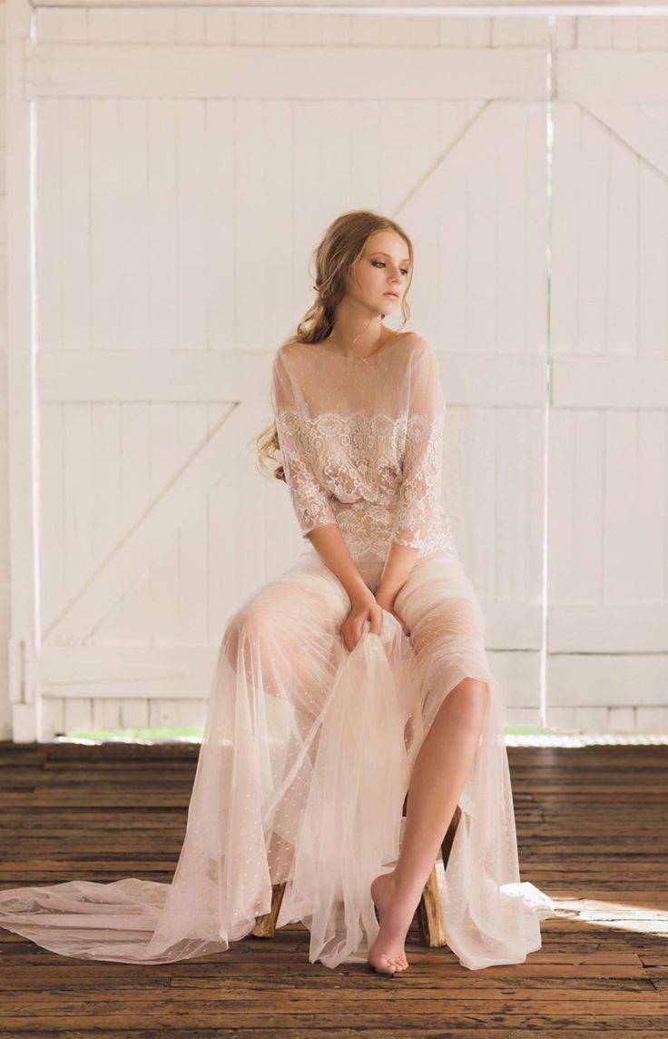 nude lace mesh wedding dress - 2017 bridal collection from Brisbane designer Jennifer Gifford