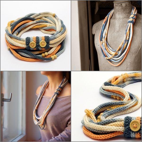 hosszú kötött nyaklánc pasztell színekben / long knitted necklace in pastel colors #knitted #necklace #pastel