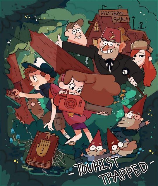 capitulo : 1 temporada : 1 : turista atrapado : mabel y dipper viajan a gravity falls con su tío en una cabaña que tiene en el bosque ,dipper se encuentra un diario que muestra el lado paranormal del pueblo