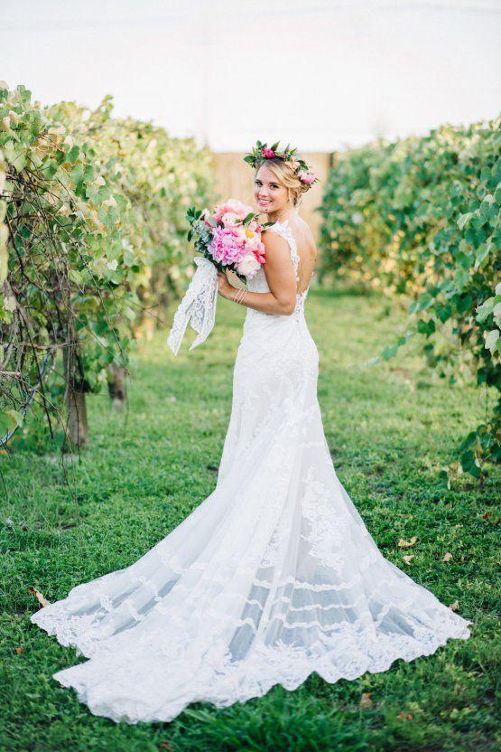 Colorful Florida Orange Grove Wedding Everence Photography Bold Flower Crown Pink Peony Bouquet Bohemian Essense Of Australia Dress