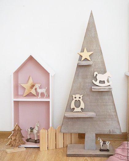 Купить Ёлки - серый, елка, новый год 2016, Новый Год, Декор, из дерева, деревянная елка