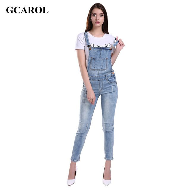 Just $21.24, Buy GCAROL Women Ripped Denim Jumpsuits Casual Sexy Stretch Romper Ladies'Denim Pencil Overalls Stretch Slim Dungarees For 4 season