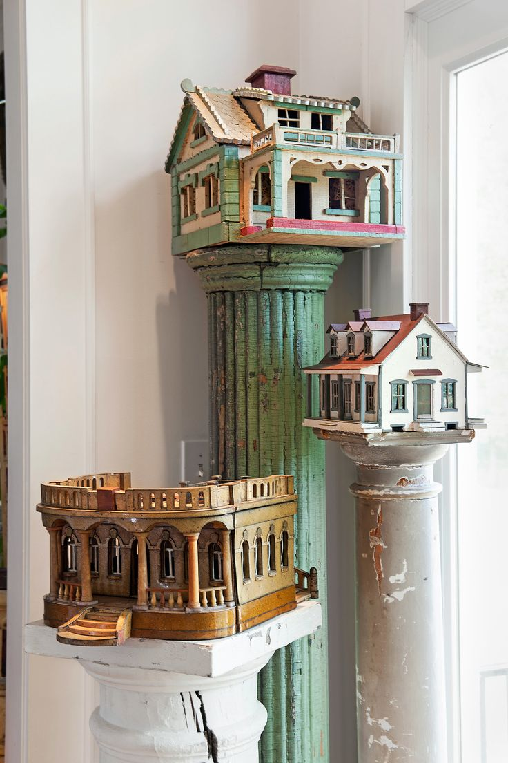 The house on the green column was made by an engineer who worked on the Washington Monument, information learned only because the engineer's grandson happned to see it on display in Raleigh, N.C.--Part of Steven Burke and Randy Campbell collection.