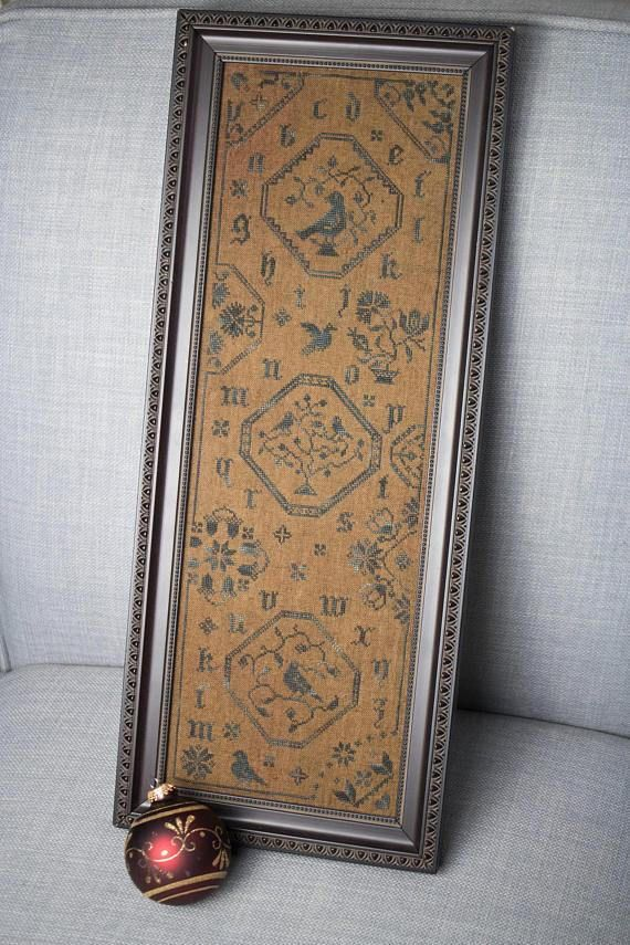 PDF Quaker Blue Bird counted cross stitch patterns by Willow Hill Samplings at cottageneedle.com colonial sampler by thecottageneedle