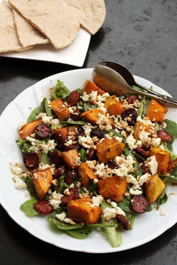 A colourful, tasty and healthy salad of roasted pumpkin, crispy chorizo, feta cheese and pine nuts, all doused in a lovely sweet balsamic-honey dressing. Perfect for an appetizer or light meal!