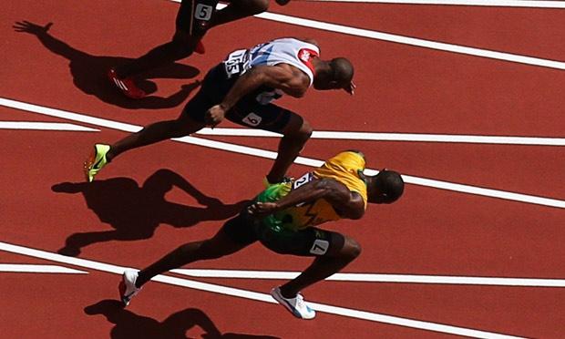 Jamaica's Usain Bolt starts in his men's 100m round 1 heat