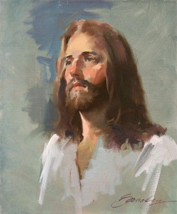 john howard sanden jesus art | rapid preliminary study, painted before the audience at the church.