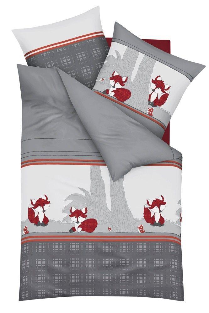 Kaeppel Biber Bettwäsche 2 tlg. Kleiner Fuchs Grau Silber Weiß Rot Bettwäsche Bettwäsche 135x200cm