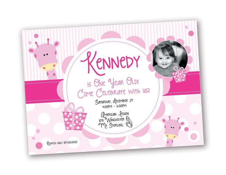 Year Old Girl Birthday Invitation Giraffe Theme Design Designs - Invitation birthday party girl