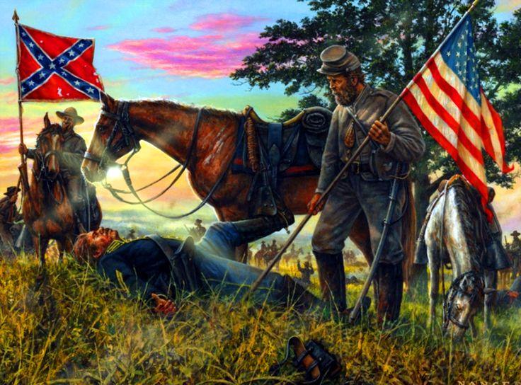Confederate Trooper Capturing A Union Flag American