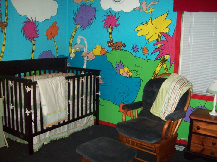 Dr. Seuss inspired walls for the nursery.
