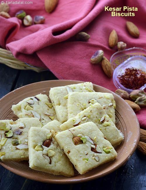 Kesar Pista Biscuits, Kesar Pista Badam Biscuit recipe   Indian Vegetarian Recipes   by Tarla Dalal   Tarladalal.com   #2529