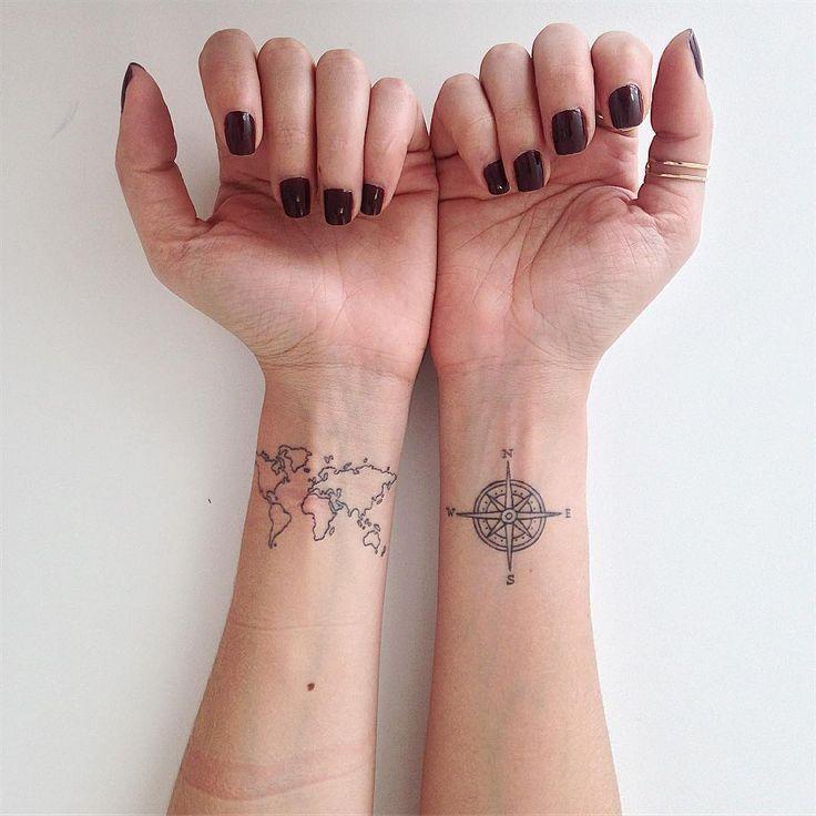 Tatuagem delicada criada por Lays Tattoo de Goiânia.  Essa tatuagem é para quem gosta de viajar e conhecer o mundo.  #tattoo #tattoo2me #tatuagem #art #arte #delicada #sweet #fofa #viagem #travel