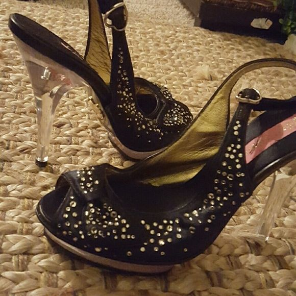 Betsey Johnson clear heel shoes Clear heels and bottom front,  peep  toe,  black satin material with crystals. Bundle and save! Betsey Johnson Shoes