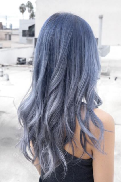 """Denim Hair"" Is 2017's Most Unexpected Trend — & We Love It+#refinery29"