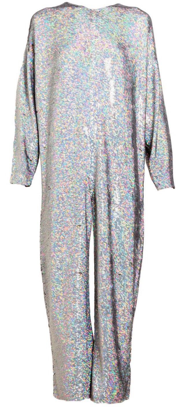 ea88e914727 Ashish Holographic Sequin Jumpsuit in Silver