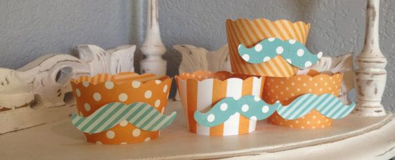 Mustache Cupcake Wrappers in Orange with light by whimzycreations
