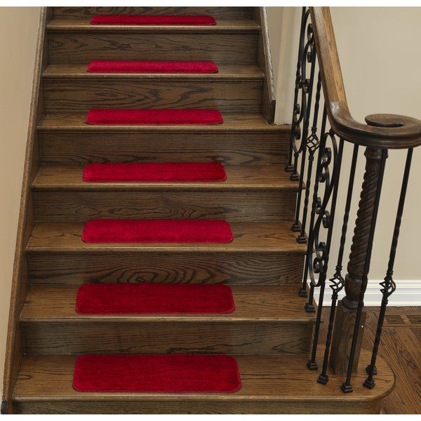 Ottomanson Soft Solid Non-Slip Shag Carpet Red Stair Tread & Reviews | Wayfair