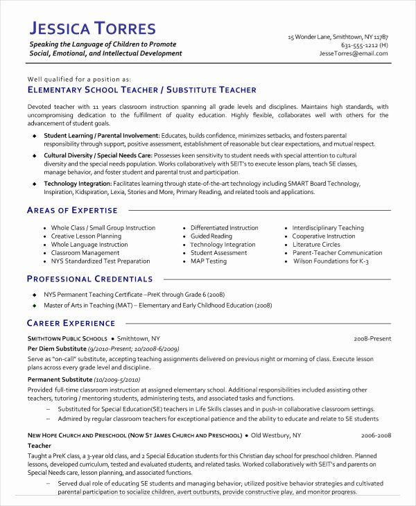 Substitute Teacher Job Description Resume Beautiful 9 Substitute Teacher Resume In 2020 Teacher Resume Examples Teacher Resume Differentiated Instruction Lesson Plans