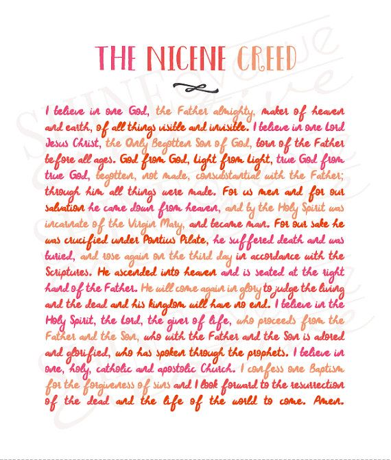 This artistically formatted text of the Nicene Creed is delivered to you as a letter-sized PDF, via instant download. After printing, cut off the bottom margin at the dotted line to fit a 8x10 frame. This is a DIGITAL product. No physical product will be delivered. Thank you for visiting the shop