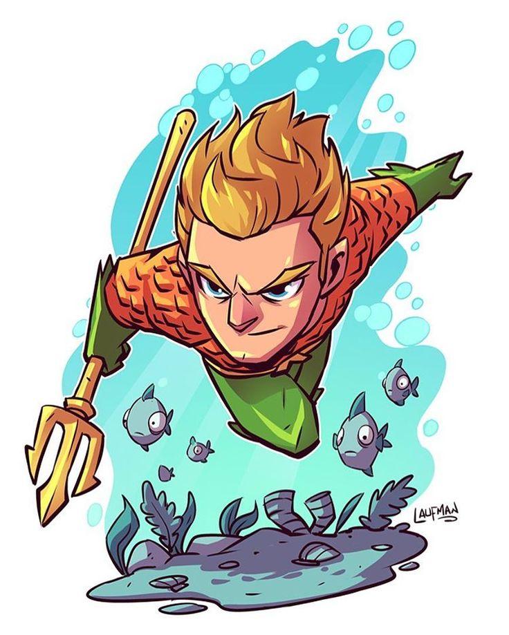 Aquaman colored! Print available at dereklaufman.com (link in my profile. #chibi #aquaman #dccomics #dereklaufman