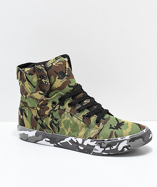 d8eaaa6994 Supra x Rothco Skytop Green Camo Skate Shoes in 2019 | Shoes:: 2018 ...
