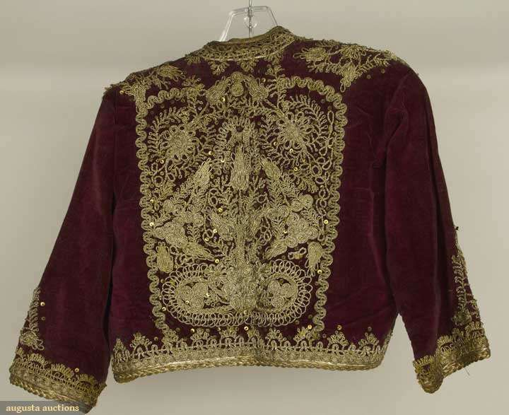 Albania and Greece, jackets : short velveteen jackets w/ couched gold threadwork : 1 red & 1 royal purple ; t/w 1 Greek gold embroidered rust velveteen jacket, 1840-1899