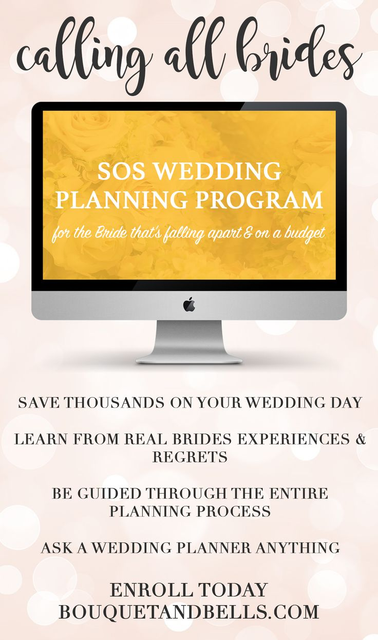 Calling All Brides! Wedding planning stressing you out? Unsure where to start? Worried about your budget and how to stretch it? Enroll today for SOS Wedding Planning, the online planning program. Spend a little to save A LOT www.bouquetandbells.com