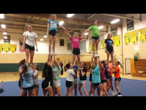 North Hunterdon Varsity Cheer Pyramid 1.13.15 - YouTube