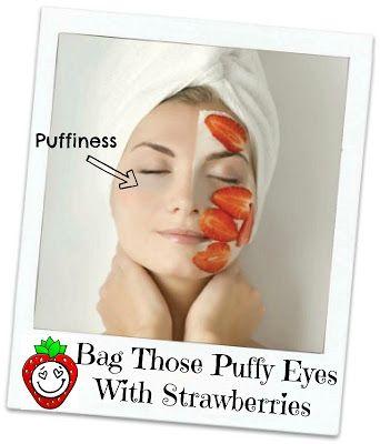 Last van wallen na een avondje feesten? Leg gekoelde plakjes aardbeien op de huid rond je ogen en de wallen zullen minder worden........ Klik op de afbeelding voor een (Engelstalige) tutorial. >>>>  How to reduce bags under your eyes with strawberries