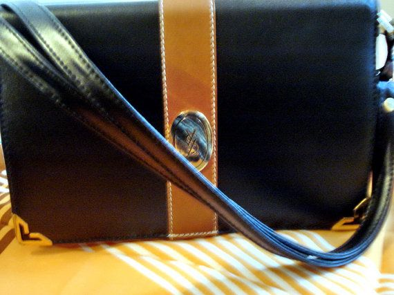 Yves Saint Laurent YSL rare vintage 80s Leather Logo satchel ...