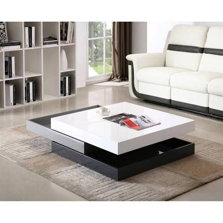 JM Furniture CW01 Modern Coffee Table White Light Grey Dark