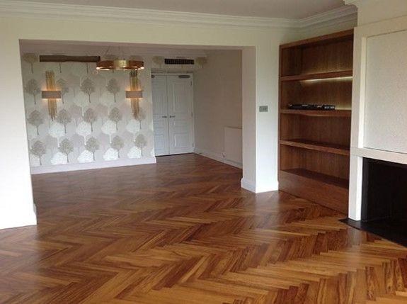 Iroko Herringbone Parquet Flooring