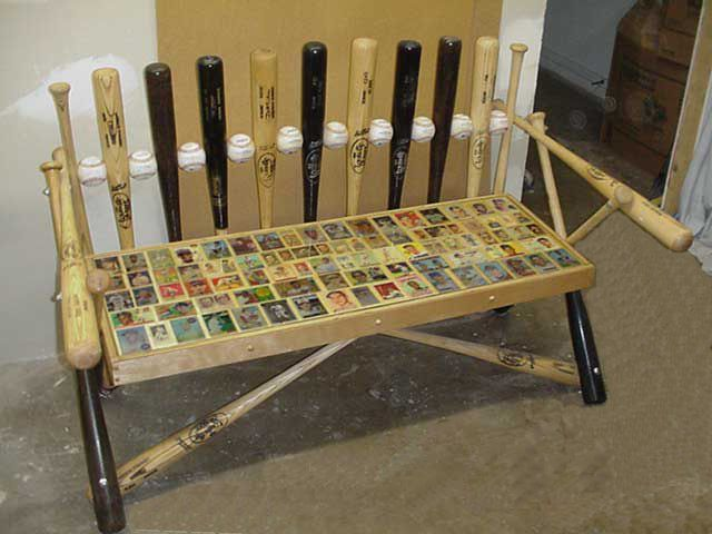 Awesome bench from old baseball bats.  Not sure that my friends wouldn't break this bench during a big football game, but it's a very neat idea.