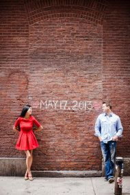 Pretty cute idea to chalk in the wedding date! Soho Engagement Session from CLY Creation | Style Me Pretty