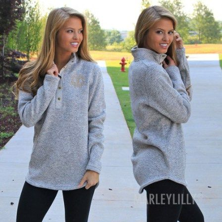 Marley Lilly Fall Accessories | Monogram Heathered Pullover Sweatshirt