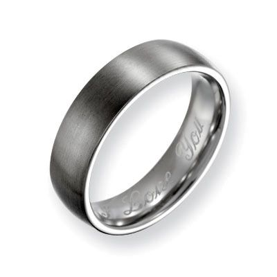 Mens 60mm Engraved Titanium Brushed Wedding Band 18 Characters