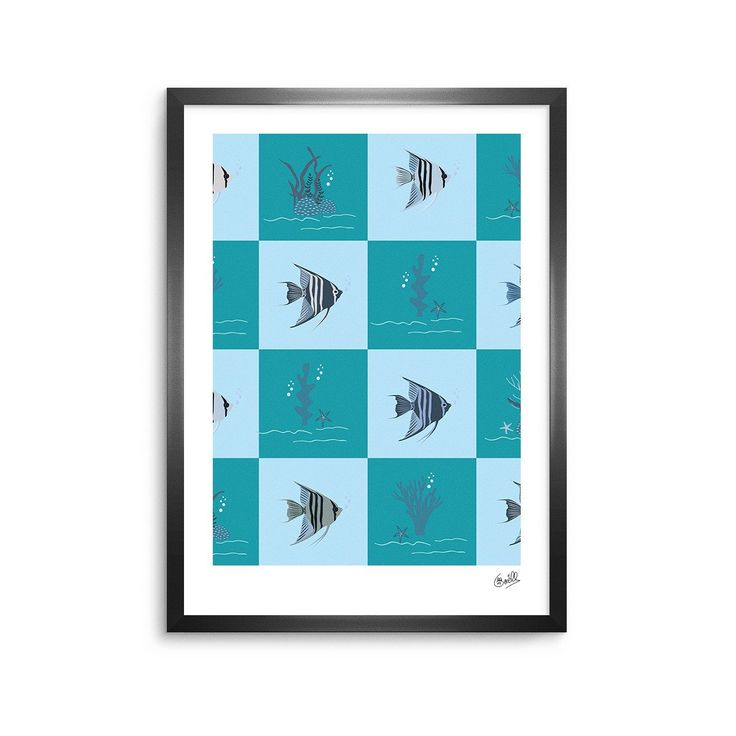 "Afe Images ""Angelfish Pattern"" Blue Teal Digital Framed Art Print from KESS InHouse"
