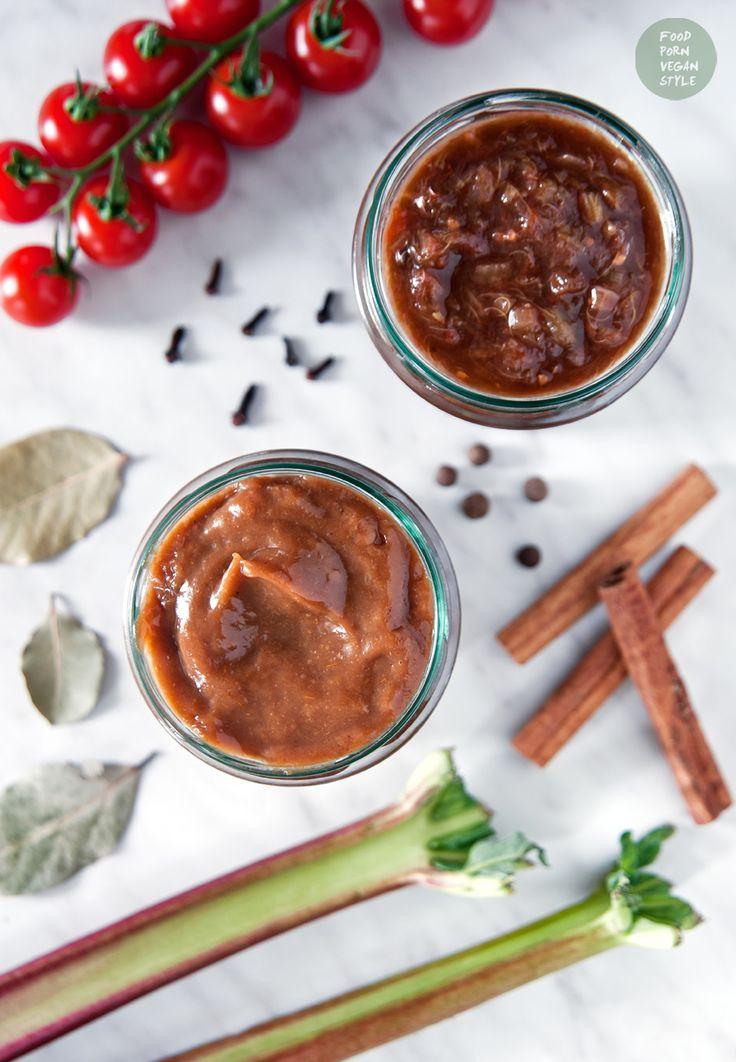 Spicy ketchupr or chutney with rhubarb