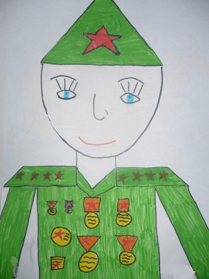 Детские рисунки про солдат