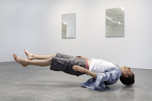 Tony Matelli, Josh, 2010, silicone, steel, hair, urethane, clothing, 30 x 74 x 22""