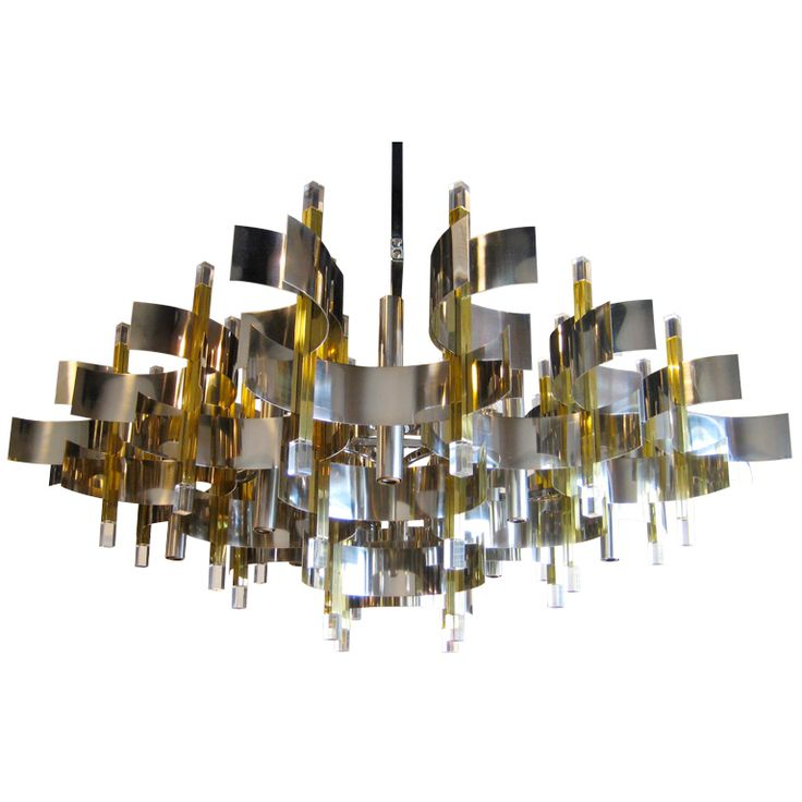1stdibs | A Spectacular 1960's Gaetano Sciolari Curved Brass And Chrome Chandelier