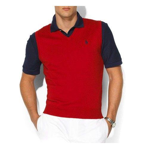 Elégant Ralph Lauren Homme gilet Pull Rouge pas cher