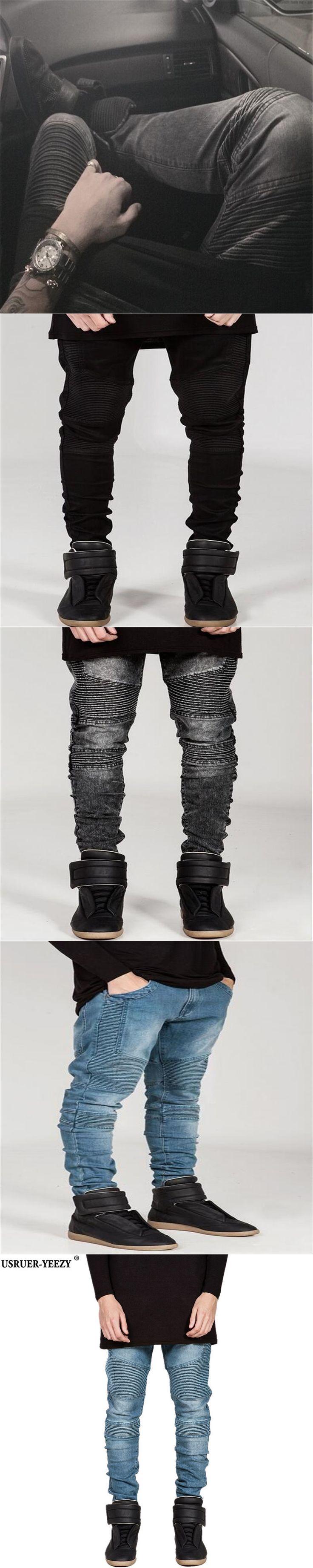 USRUER-YEEZY Biker Jeans Mens Denim Zipper Straight Joggers Jeans Men Strech Slim Fit Quality Jeans Blue Hip Hop Motorcycle Pant