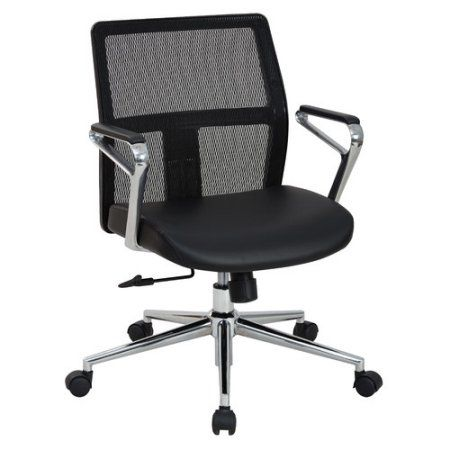 Office Star Mid Mesh Back and Bonded Leather Seat Managers Chair with Padded Polished Aluminum Arms and Chrome Base, Black